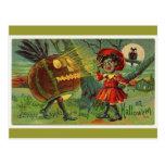 vintage-Halloween-asustar-chica-búho-calabaza-tarj Postal