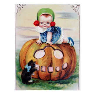 Vintage Halloween Baby On Pumpkin Postcard