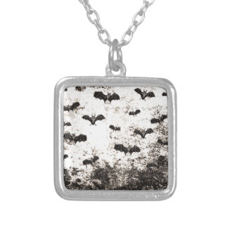 Vintage Halloween Bat pattern Silver Plated Necklace