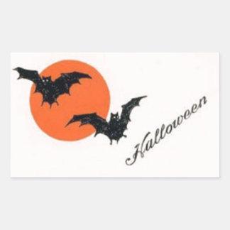 Vintage Halloween Bats with Orange Moon Rectangular Sticker