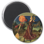 Vintage Halloween, Beautiful Dancing Witch 2 Inch Round Magnet