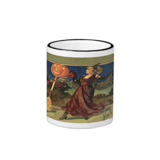 Vintage Halloween, Beautiful Dancing Witch Ringer Coffee Mug