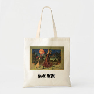 Vintage Halloween, Beautiful Dancing Witch Tote Bag