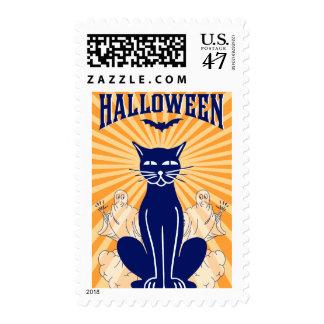 Vintage Halloween Black Cat and Ghosts Stamp