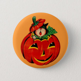 Vintage Halloween Black Cat Button