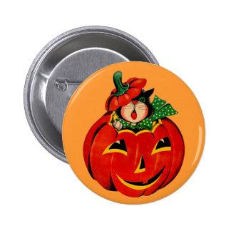 Vintage Halloween Black Cat Button