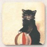 Vintage HALLOWEEN Black Cat Coaster