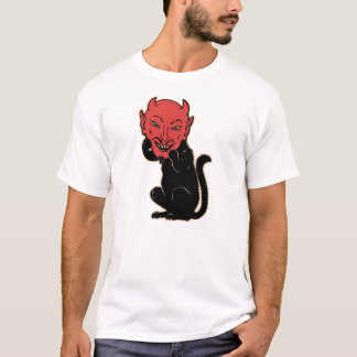 Vintage Halloween - Black Cat Devil T-Shirt