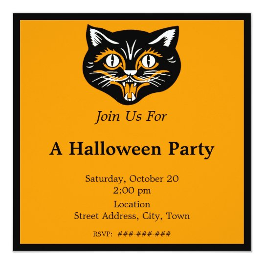 Vintage Halloween Black Cat Face Party Card