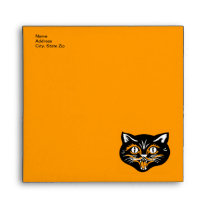Vintage Halloween Black Cat Face Party Envelopes