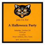 Vintage Halloween Black Cat Face Party Invitations