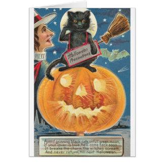 Vintage Halloween Black Cat Greeting Card