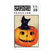 Vintage Halloween Black Cat in a Jack O'Lantern Postage