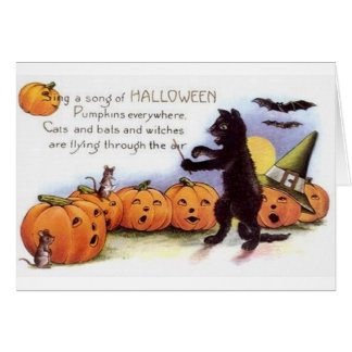 Vintage Halloween Black Cat Orchestra Card