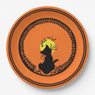 Vintage Halloween Black Cat Paper Plate