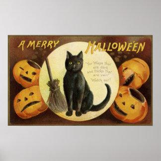 Vintage Halloween black cat pumpkins party poster
