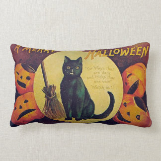 Vintage Halloween Black Cat Throw Pillow