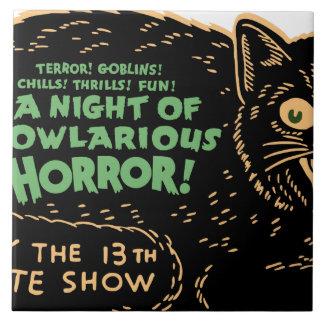 Vintage Halloween Black Cat Tile