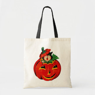 Vintage Halloween Black Cat Trick or Treat Budget Tote Bag