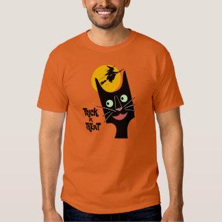 Vintage Halloween Black Cat Trick or Treat T Shirt