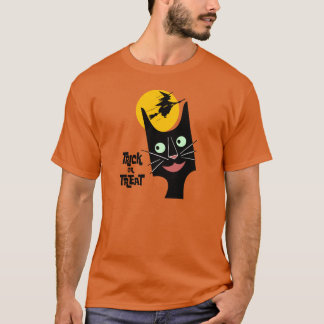 Vintage Halloween Black Cat Trick or Treat T-Shirt