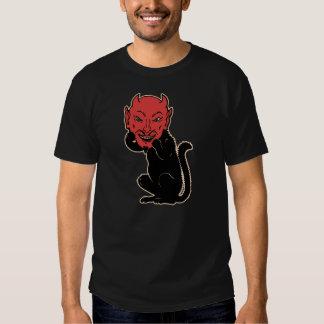 Vintage Halloween Black Cat Wearing a Devil Mask! Shirt