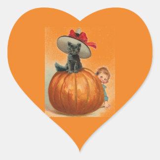 Vintage Halloween Black Cat Witch Hat Pumpkin Baby Heart Sticker