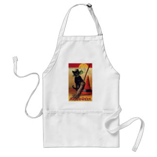 Vintage Halloween Black Cat, Witch's Broom and Hat Adult Apron