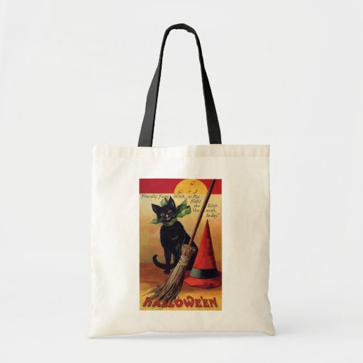 Vintage Halloween Black Cat, Witch's Broom and Hat Canvas Bag