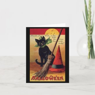 Vintage Halloween Black Cat, Witch's Broom and Hat Greeting Cards
