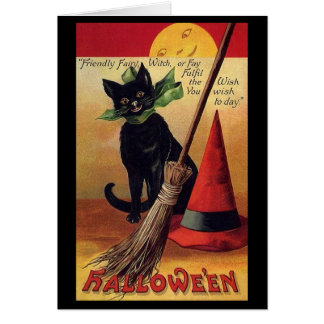 Vintage Halloween Black Cat, Witch's Broom and Hat Card