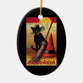 Vintage Halloween Black Cat, Witch's Broom and Hat Ceramic Ornament