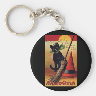 Vintage Halloween Black Cat, Witch's Broom and Hat Keychain