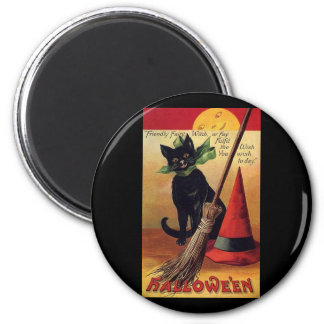 Vintage Halloween Black Cat, Witch's Broom and Hat Magnets