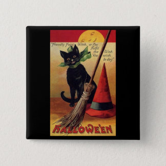 Vintage Halloween Black Cat, Witch's Broom and Hat Pinback Button