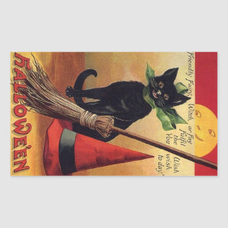 Vintage Halloween Black Cat, Witch's Broom and Hat Rectangular Sticker