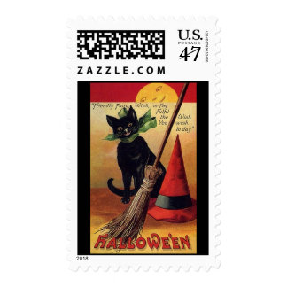 Vintage Halloween Black Cat, Witch's Broom and Hat Stamp