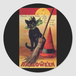 Vintage Halloween Black Cat, Witch's Broom and Hat Round Stickers