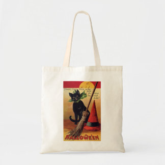 Vintage Halloween Black Cat, Witch's Broom and Hat Tote Bag