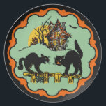 """Vintage Halloween Black Cats And Haunted House Plate<br><div class=""""desc"""">Vintage Halloween Black Cats And Haunted House</div>"""