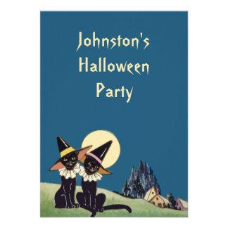 Vintage Halloween Black Cats Announcements