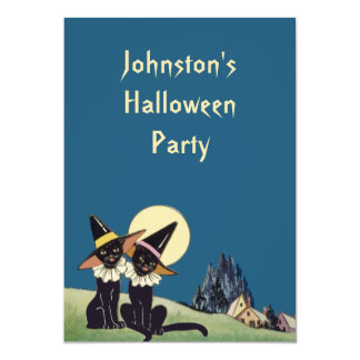 Vintage Halloween Black Cats 5x7 Paper Invitation Card