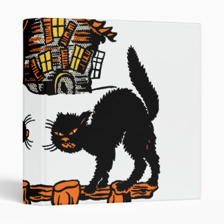 Vintage Halloween Black Cats Trick or Treat 3 Ring Binder