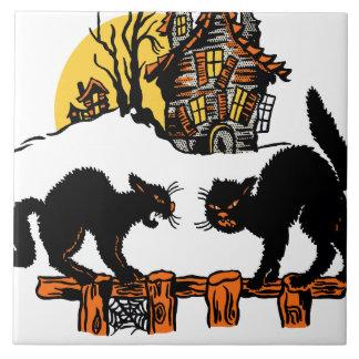 Vintage Halloween Black Cats Trick or Treat Ceramic Tile