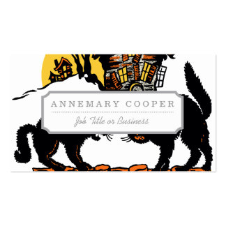Vintage Halloween Black Cats Trick or Treat Double-Sided Standard Business Cards (Pack Of 100)