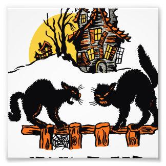 Vintage Halloween Black Cats Trick or Treat Photo Print