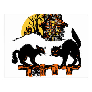 Vintage Halloween Black Cats Trick or Treat Postcard