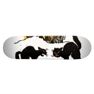 Vintage Halloween Black Cats Trick or Treat Skateboard