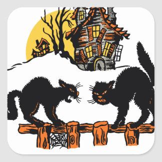 Vintage Halloween Black Cats Trick or Treat Square Sticker