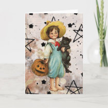 Vintage Halloween Boy and Black Cat Holiday Card